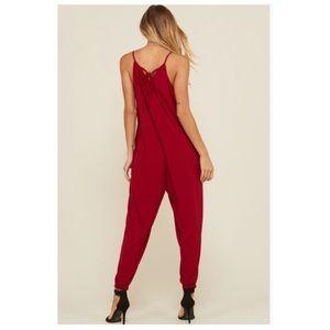 Pants - Sexy Red Jogger Jumpsuit S/M/L